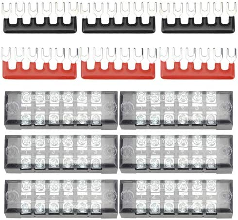 Uxcell a13051600ux0521 600V 15A Dual Row 6 Position Covered Screw Terminal Strip Barrier