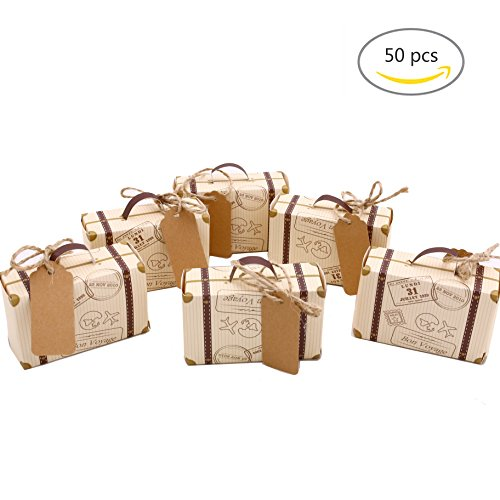 50pcs Mini Suitcase Wedding Favor Candy Box, Vintage Kraft Paper with Tags and Burlap Twine for Wedding Party Decoration (Favors Theme Garden Wedding)