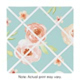 Sweet JoJo Designs Turquoise and Peach Fabric Memory Memo Photo Bulletin Board for Watercolor Floral Collection - Pink Rose Flower