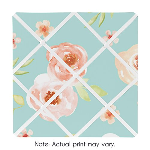Sweet Jojo Designs Turquoise and Peach Fabric Memory Memo Photo Bulletin Board for Watercolor Floral Collection - Pink Rose Flower (Chic Paint Shabby)