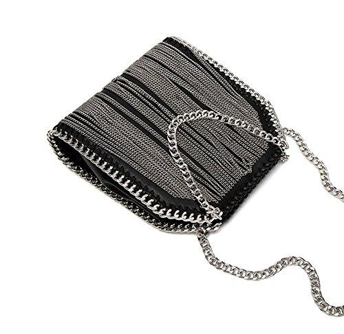 Small Ladies Bag Hand Chain Tide Chain Tassel Imzoeyff Chain Woven Bag Small Diagonal Iron Messenger Small Bag q7x5zZ