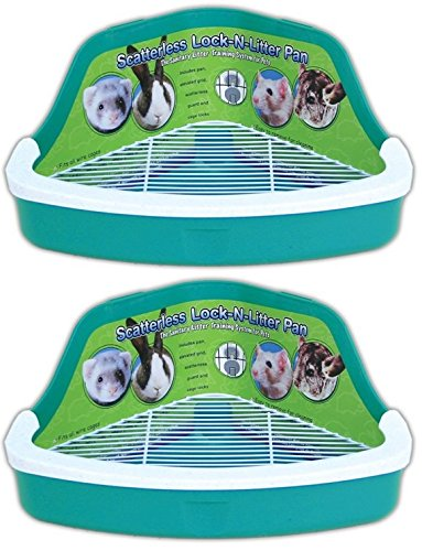 Ware Manufacturing 2 Pack Plastic Scatterless Lock-N-Litter Small Pet Pan- Colors May Vary