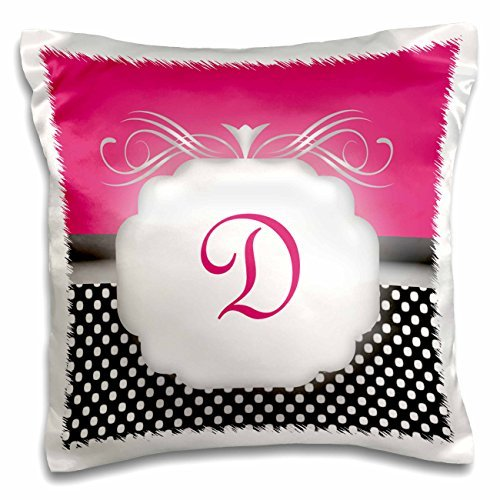 3dRose Elegant Pink with Black and White Polka Dot Monogram Letter D-Pillow Case, 16 by 16