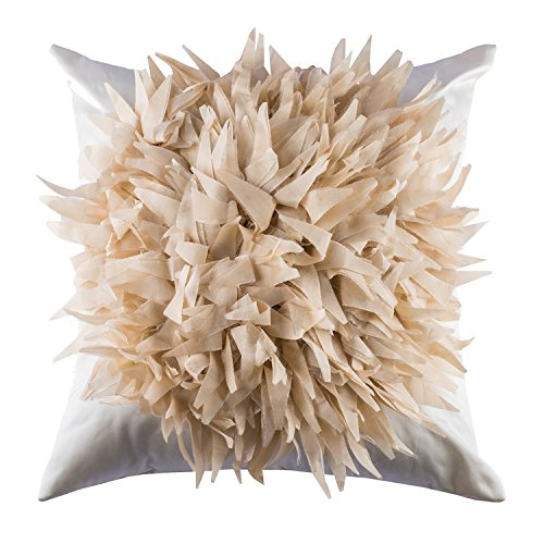 The Pink Champa Large Farmhouse Bohemian Fluffy Plush Floral Soft Decorative Throw Pillow Cover, 18×18, White Cream For Sale