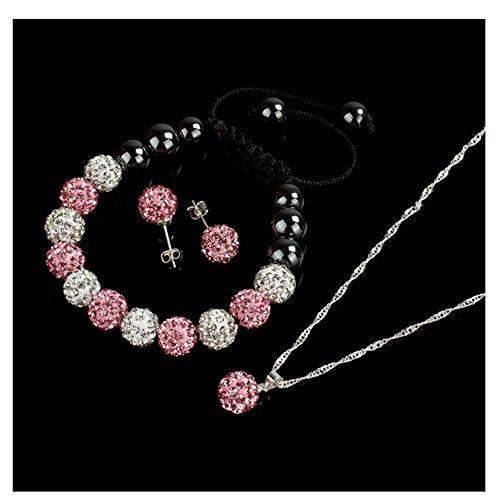 Lisingtool Crystal Jewelry Bracelet Earrings Necklace Set (Pink) from Lisingtool