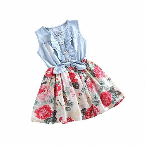 Girls Dress, HeeLinB Princess Dresses Sleeveless Denim Tops Floral Tutu Skirts, 100(1-2 Years)