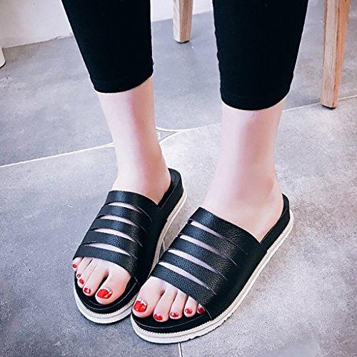 PENGFEI Chanclas de playa para mujer Zapatillas femeninas Moda sandalias inferiores gruesas del talón de la parte inferior gruesa antideslizante hueco del verano de la personalidad Cómodo y transpirab Negro