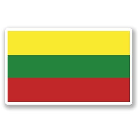 2 x 10 cm) vinilo diseño bandera Lituania iPad coche para ordenador portátil viaje equipaje