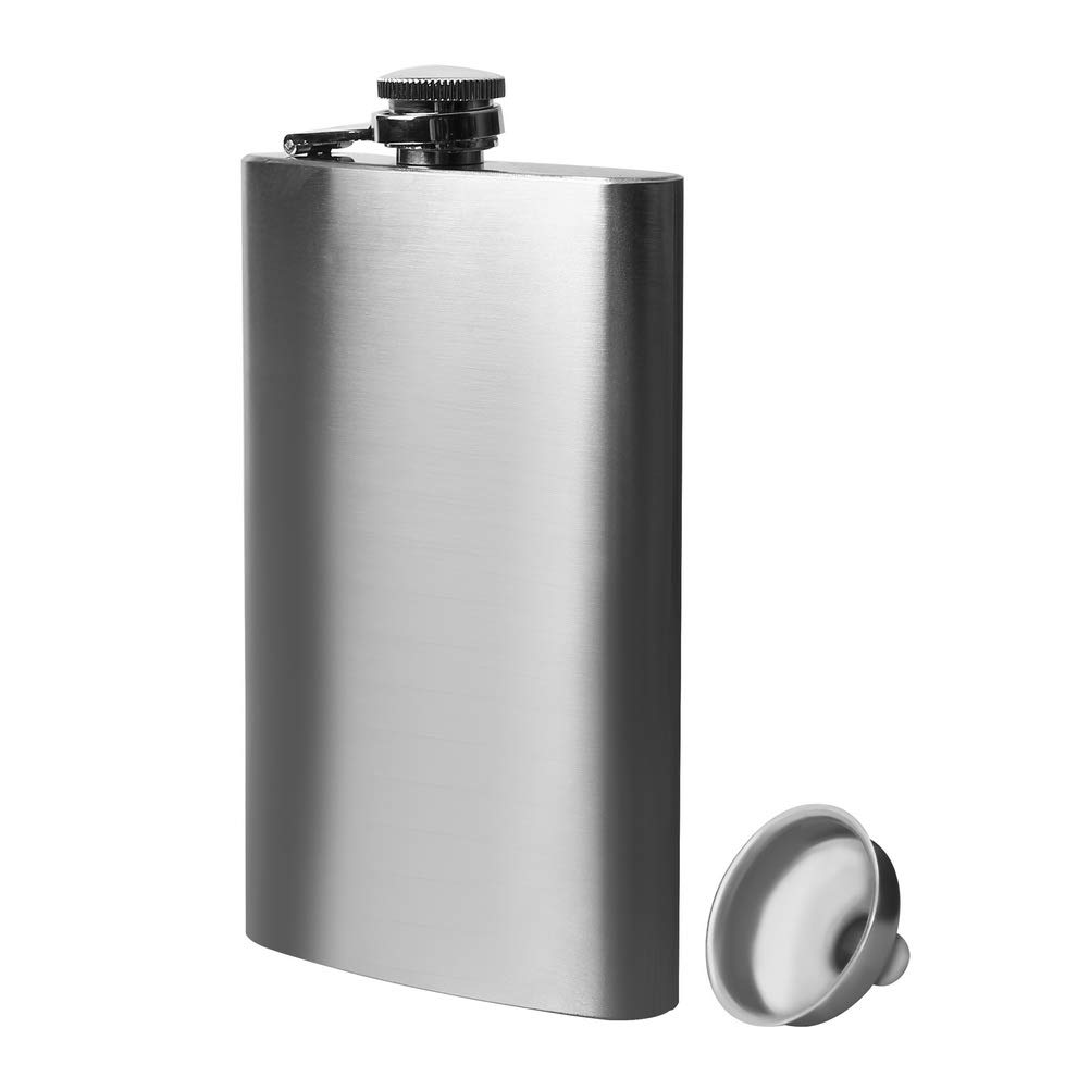 SUMAJU 10oz Hip Flask Coogain Silver Portable Pocket Whiskey Stainless Steel Flagon with Handy Funnel for Climbing Camping Barbecue Bar Party Drinker