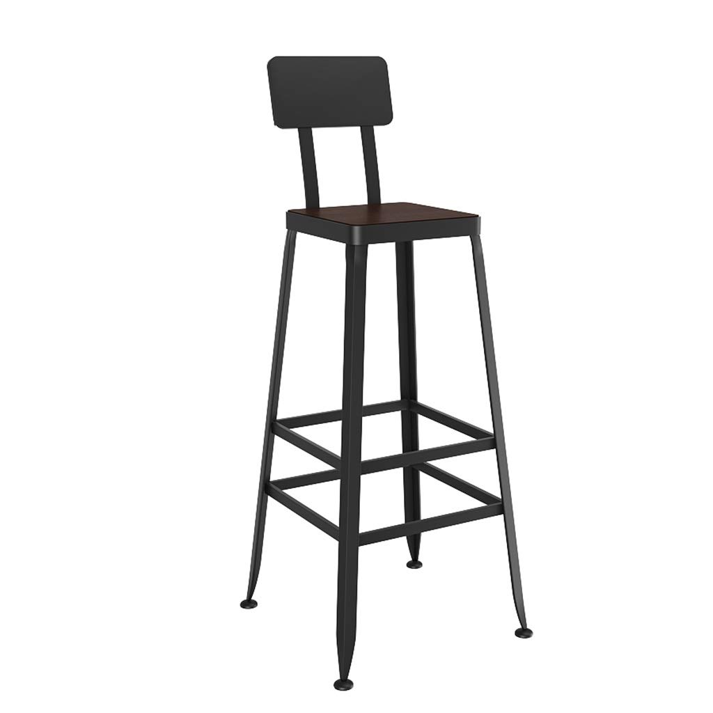 70CM LAXF-Counter Height Bar Stools Metal Vintage Style Wrought Iron Solid Wood Barstool Bar Chair High Stool Can be Used in Kitchen Dining Room Counter Pub with Backrest (Size   80 cm)