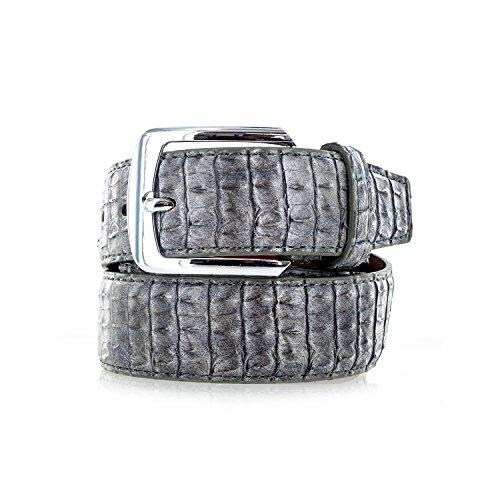Lizard Genuine Belt (Faddism Men's Genuine Leather Lizard Skin Textured Belt With Silver Buckle - Grey)