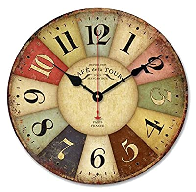 Gillberry Vintage France Paris Colourful French Country Tuscan Style Paris Wood Wall Clock
