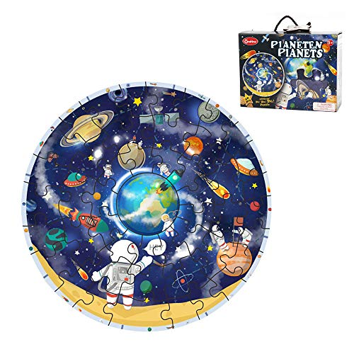 48 Piece Solar System - Wooden Solar System Planets Jigsaw Puzzle Astronauts Space Ships Floor Puzzle for Toddlers 48 Big Puzzle Pieces