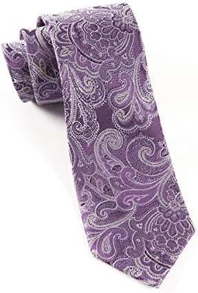 100% Woven Silk Eggplant Paisley Tie