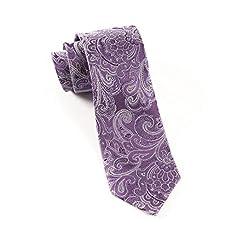 The Tie Bar 100% Woven Silk Designer Paisley Eggplant Skinny Tie