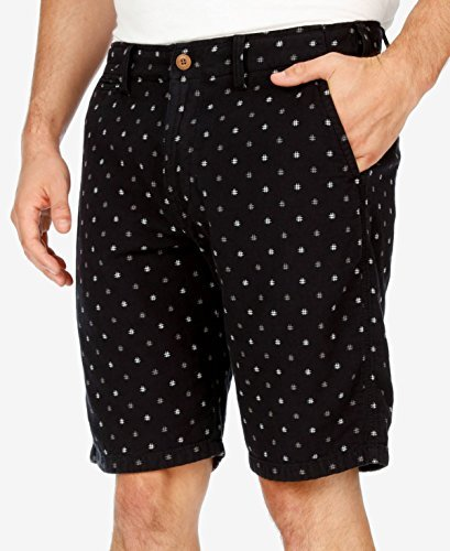 Lucky Brand Men's Black Hashtag Flat Front Short, Black Multi, 36