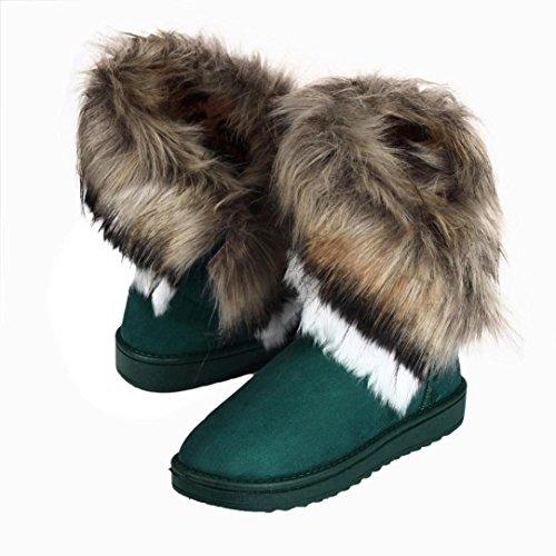 Bottes de neige pour femmes Bottes de neige doublées imperméables Mode Femmes Bottes Cheville Plat Fourrure Doublé Hiver Chaud Neige Chaussures GongzhuMM (CN40(EU39), NOIR) Bleu