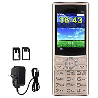 Phone Color Screen Old Man Mobile Phone Student Mobile Phone D1000 2.4in High Definition Mobile Phone Flashlight Cell Phone Dialer US Plug 100-240V (Gold)