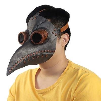 Ani·Lnc Plague Doctor Mask,Black Bird Beak Steampunk Costume Halloween Cosplay Party Prop: Clothing
