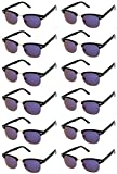 CLASSIC RETRO SUNGLASSES. Black Horn Rimmed Half Frame Vintage Round Sunglasses for Women & Men. Cheap Sunglasses for Bachelorette Party or Bachelor Party Favors (Purple Revo Lens - 12 Pack)