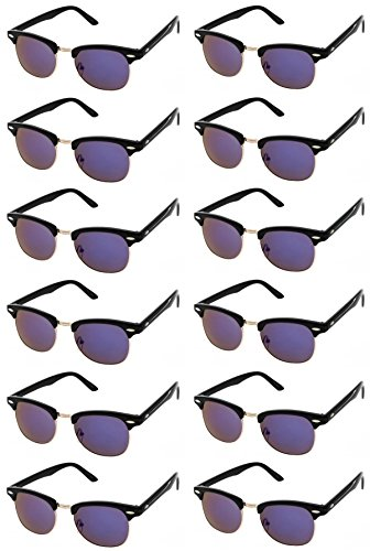 CLASSIC RETRO SUNGLASSES. Black Horn Rimmed Half Frame Vintage Round Sunglasses for Women & Men. Cheap Sunglasses for Bachelorette Party or Bachelor Party Favors (Purple Revo Lens - 12 Pack) by Sunscape