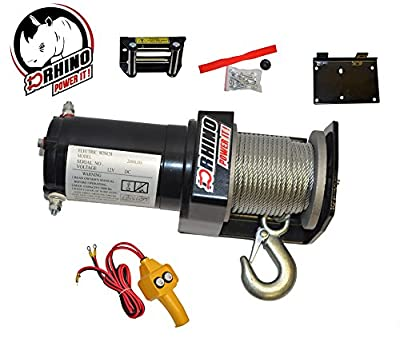 D-Rhino Electric Winch Kit 2000 lb Load Capacity 12V ATV Recover Towing Tow Boat Trailer Truck SUV Heavy Duty