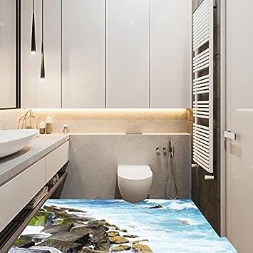 Wallpaper Badezimmer | Kicode 3d Pvc Seekuste Stein Wallpaper Boden Abnehmbare