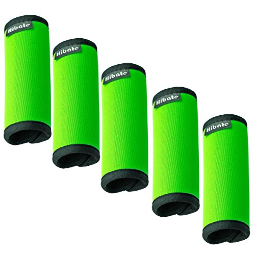 Wrap Luggage Tag (Hibate Comfort Neoprene Luggage Handle Wraps Grip - Fluorescent Green, Pack of 5)