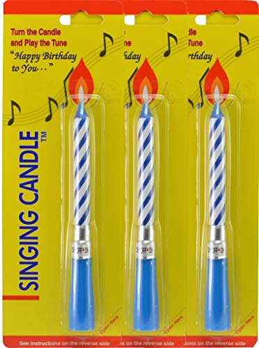 Incrediblegifts Singing Musical Happy Birthday Candles (3 Pack) Blue -