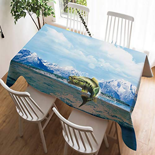 YISUMEI Tablecloth 60 x 102-Inch Fabric Table Cover for Kitchen Dinning Tabletop Decoration Beach Throw Cloth Piranha at The Foot of Iceberg