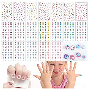 Le Fu Li 19 sheets Kids Self Adhesive Unicorn Nail Art Stickers Decals Manicure Decoration for Little Girls for Fingernails Toenails Nail Tips child