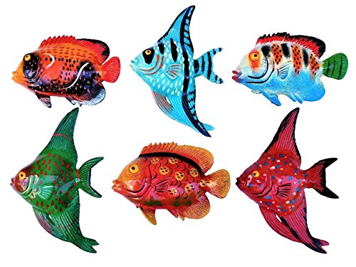 All Seas Imports Multi-color Exotic Set of (6) Decorative Wall Decor Fish with Free Fish Net by All Seas Imports