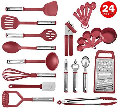 Kitchen Utensil Set 24 Nylon and Stainless Steel Utensil Set, Non-Stick and Heat Resistant Cooking U