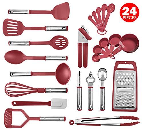 Kitchen Utensil Set 24 Nylon and Stainless Steel Utensil Set, Non-Stick and Heat Resistant Cooking Utensils Set, Kitchen…