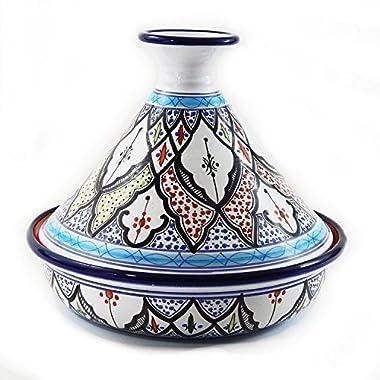 Le Souk Ceramique CT-TIB-30 Cookable Tagine, 12-Inch, Tibarine Design