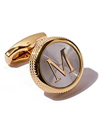 Men's 2PCS Fashion Dazzle Tuxedo Shirts Cufflinks 18K Gold Plated Cuff Button Alphabet Letter A-Z