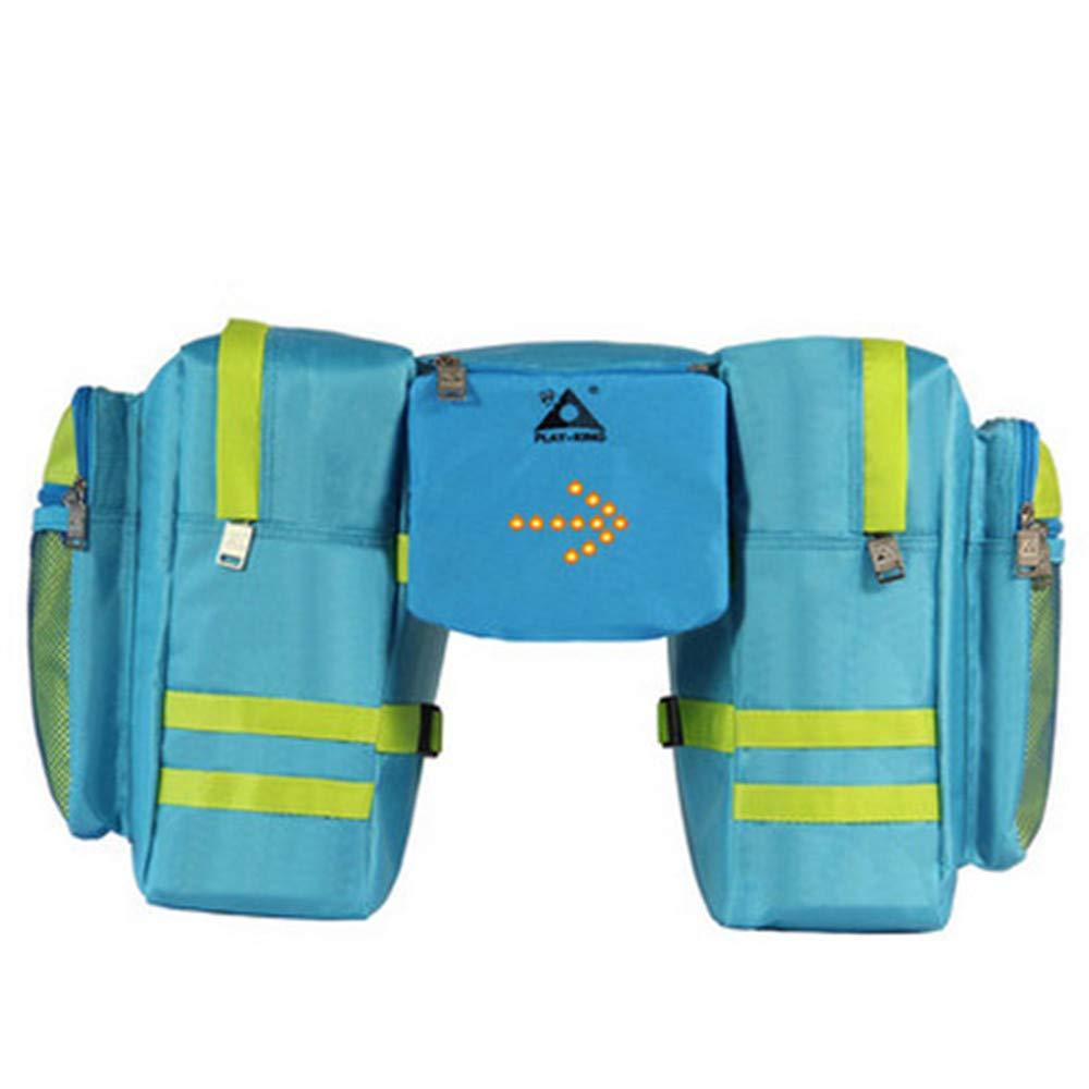 Sunbobo Bike Pannier Trunk Bag, große Kapazität wasserdicht Fahrrad Rear Seat Pannier Fit für Radfahren mit Wireless Controll Trun Light Aufbewahrungstasche (Farbe : Blau)