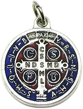 GTBITALY 60.048.31 medalla de San Benito de plata esmaltada a mano, medida 2 cm con anillo
