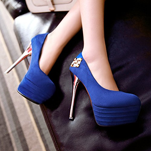 XDGG New High heeled scarpe donne single Blu Rosso Nero Size32 33 34 35 36 37 38 39 40 41 42 43 , blue , 40