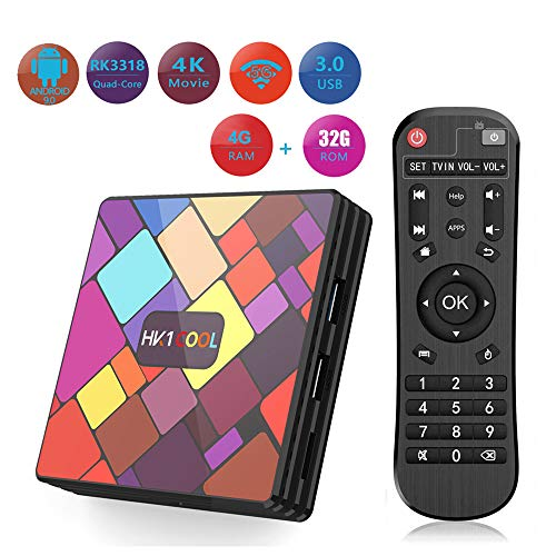 WXJHA Android 9.0 TV Box 4GB RAM/32GB ROM, RK3318 Quad-Core 64Bit Cortex,H.265 Decoding 2.4G/5G Dual-Band Wifi Smart…