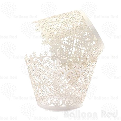Flowers Artistic Filigree Lace Laser Cut Cupcake Wrappers Muffin Case, Pack of 24, White