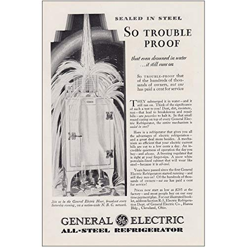 1930 General Electric Refrigerator: So Trouble Proof, General Electric Print Ad 1930 General Electric Refrigerator