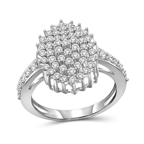 Jewelexcess 1.00 Carat T.W. White Diamond Sterling Silver Oval Cluster Ring - Oval Cluster Ring