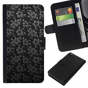 KLONGSHOP // Tirón de la caja Cartera de cuero con ranuras para tarjetas - Negro de plata minimalistas Flores - HTC DESIRE 816 //