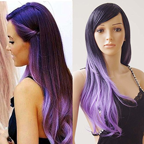 S-noilite 28'' Long Wavy Full Wigs With Bangs Ombre Two Tone Dyeing Color Synthetic Hair Anime Costume Cosplay Wig for Women Ladies Girls (Ombre Black-Purple Mix) by S-noilite