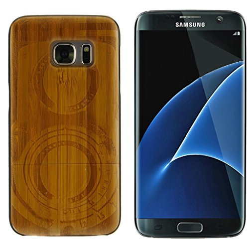 Natural Handmade Harwood Bamboo Engraved Twin Lens Camera Mobile Case Cover For Samsung Galaxy S7 Edge