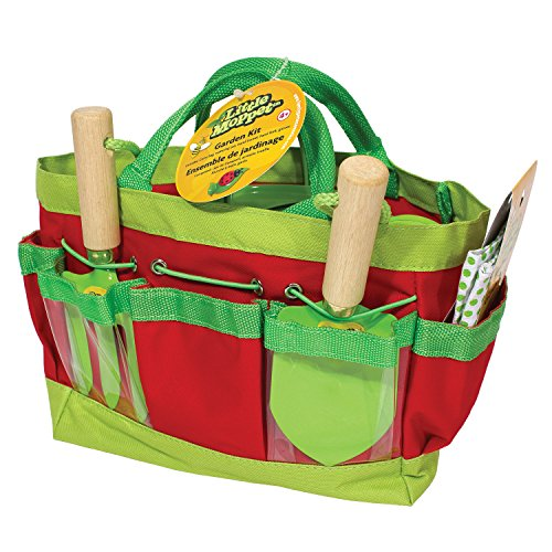Little Moppet Kids gardening set with fabric tote, gardening gloves, trowel, hand fork, watering can - lime/red by Little Moppet