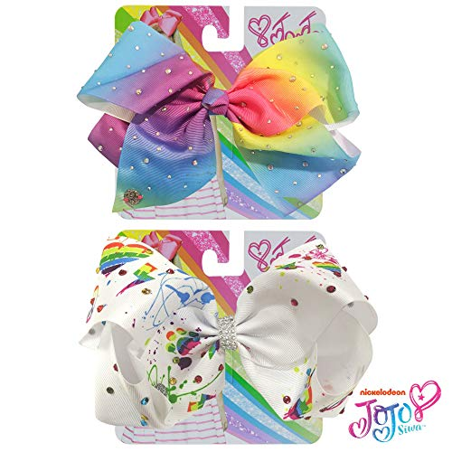 Ponytail Bracelet Rhinestone - Jojo Siwa Bow for Girls Bundle, 2 Bows - Rainbow and White