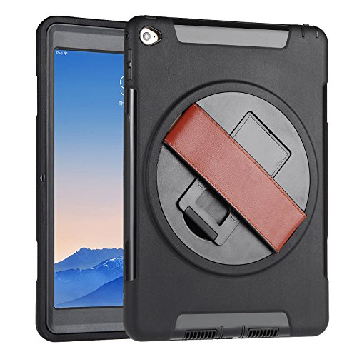 iPad Air 2 Case with Strap, Beeiee 360 Degree Rotation Protective Handheld Case with Leather Hand Strap and Built-in Stand for iPad iPad Air 2 (Not for iPad air 1) (Rotation Stand 360 Degree)