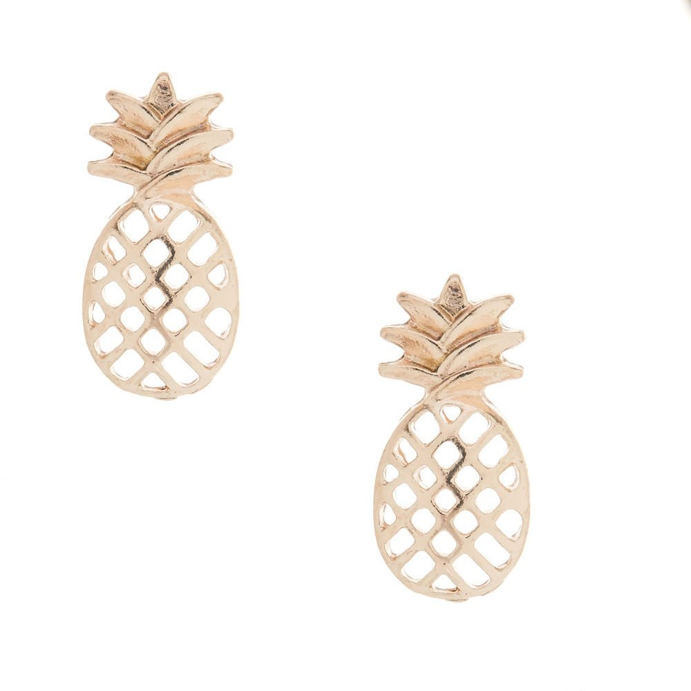Claires Girls Rose Gold Pineapple Stud Earrings